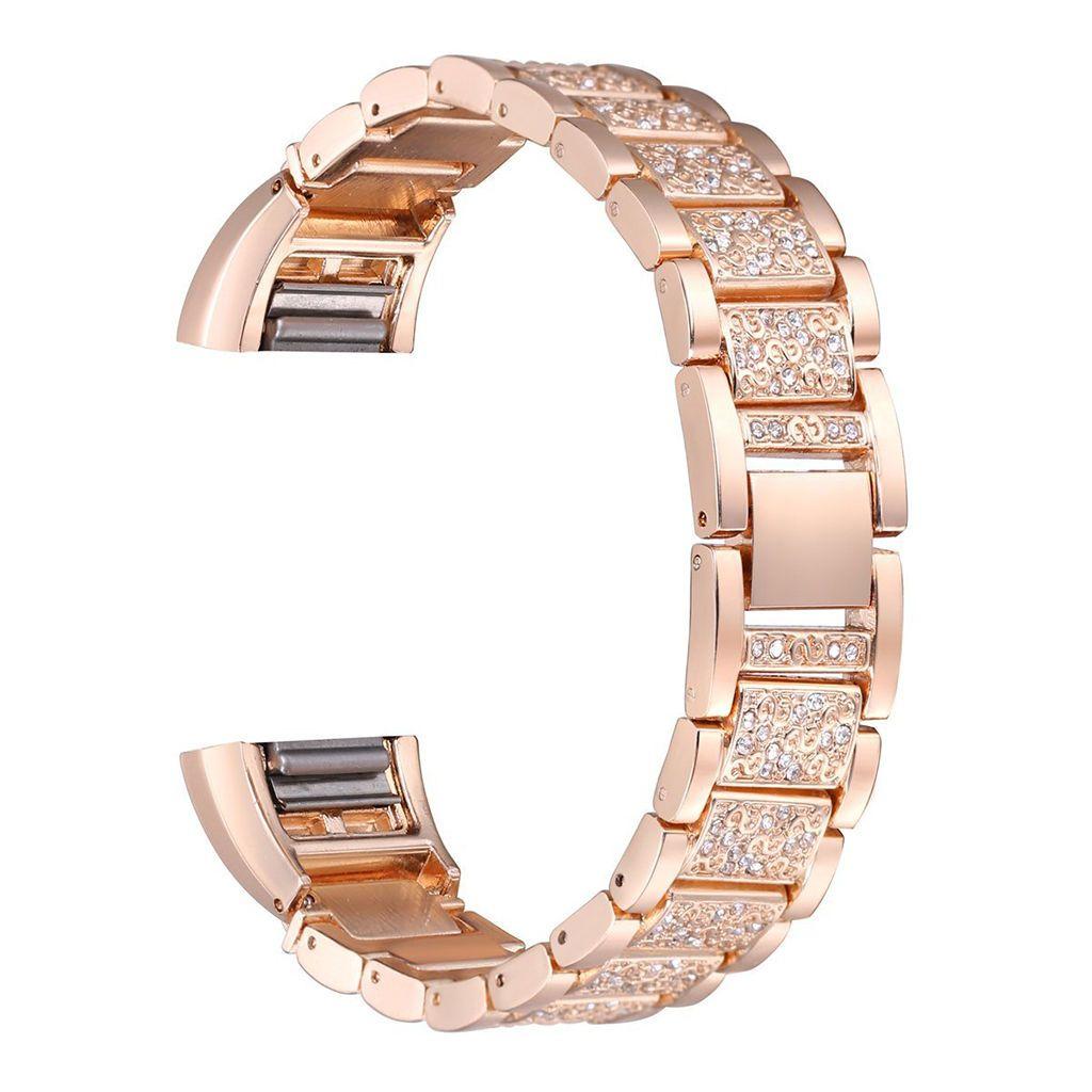 Diamante rose gold stainless steel wristband bracelet strap for