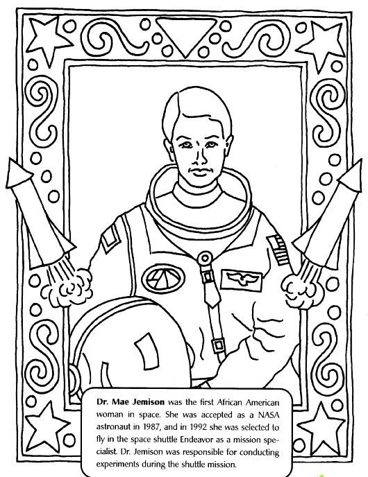 Dr Mae Jemison Coloring Page Color Book Black History Activities Black History Inventors Black History Month Printables