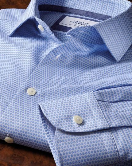 Slim fit semi-cutaway collar business casual double-faced sky shirt