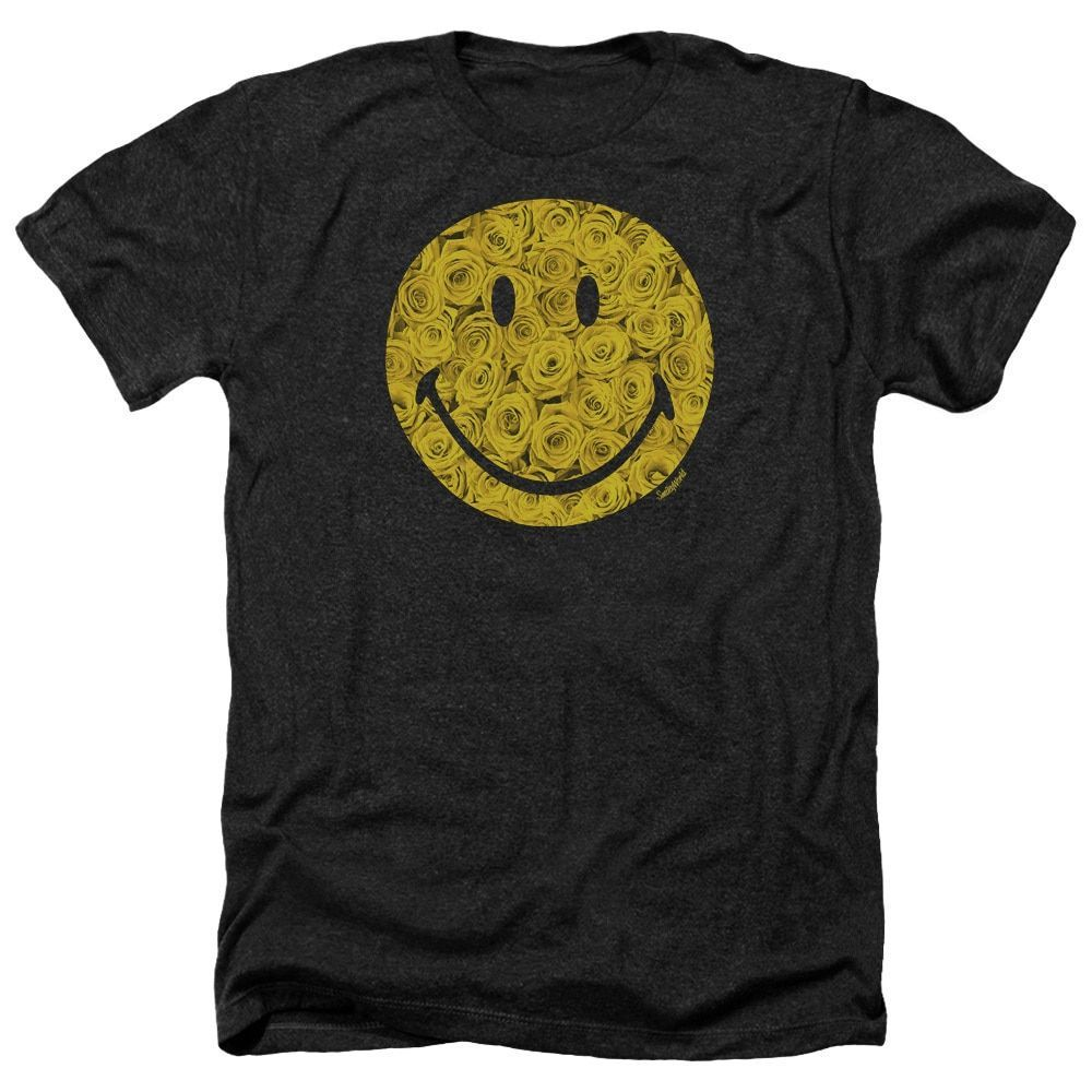 Smiley World/Rosey Face Adult Heather T-Shirt in