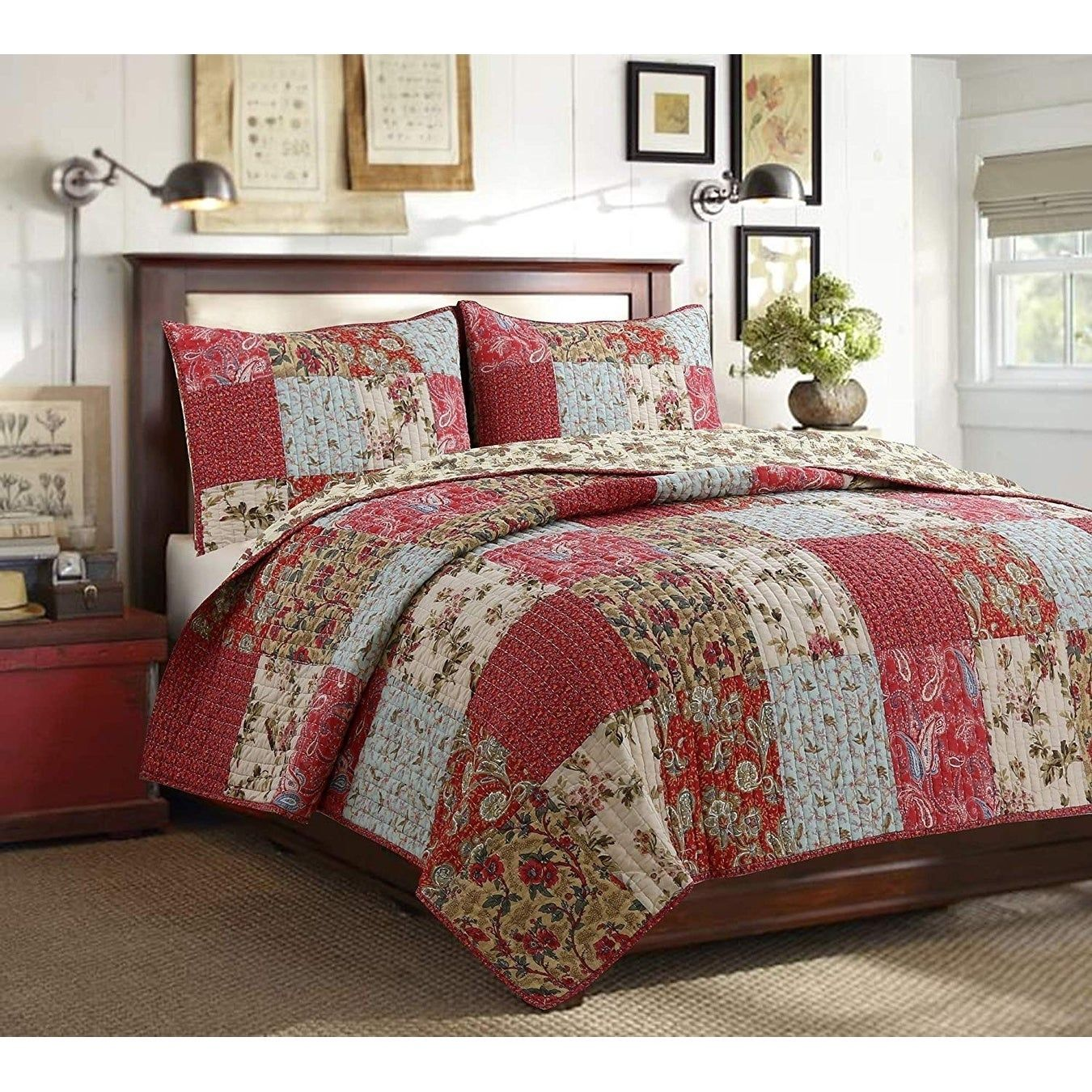 3pc ANTIQUE CHIC King Quilt Set Red Floral Paisley French Provincial Reversible