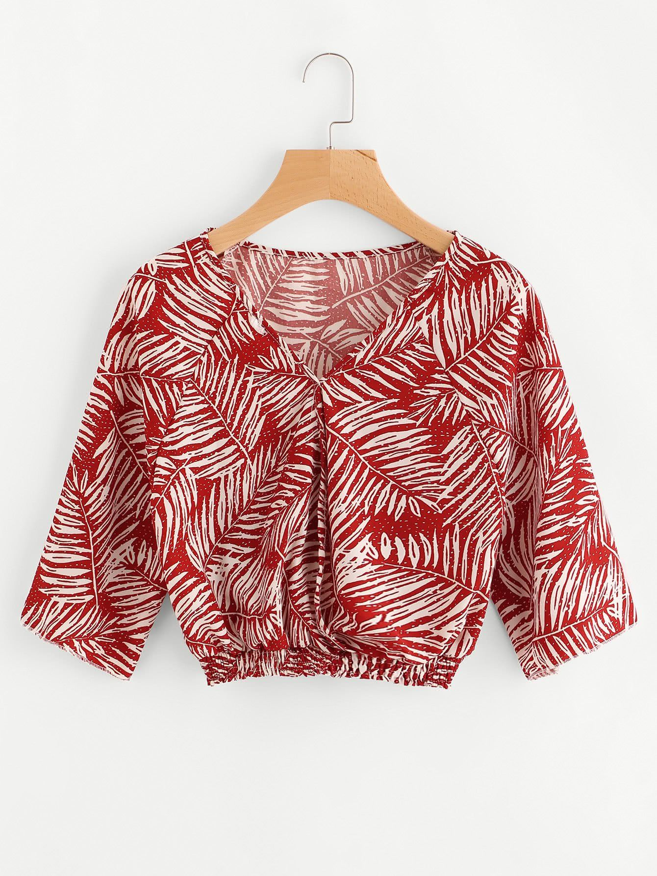 Red Palm Leaf Print Half Sleeve V-Neck Elastic Hem Blouse Sexy Blouse, Crop 650e648025