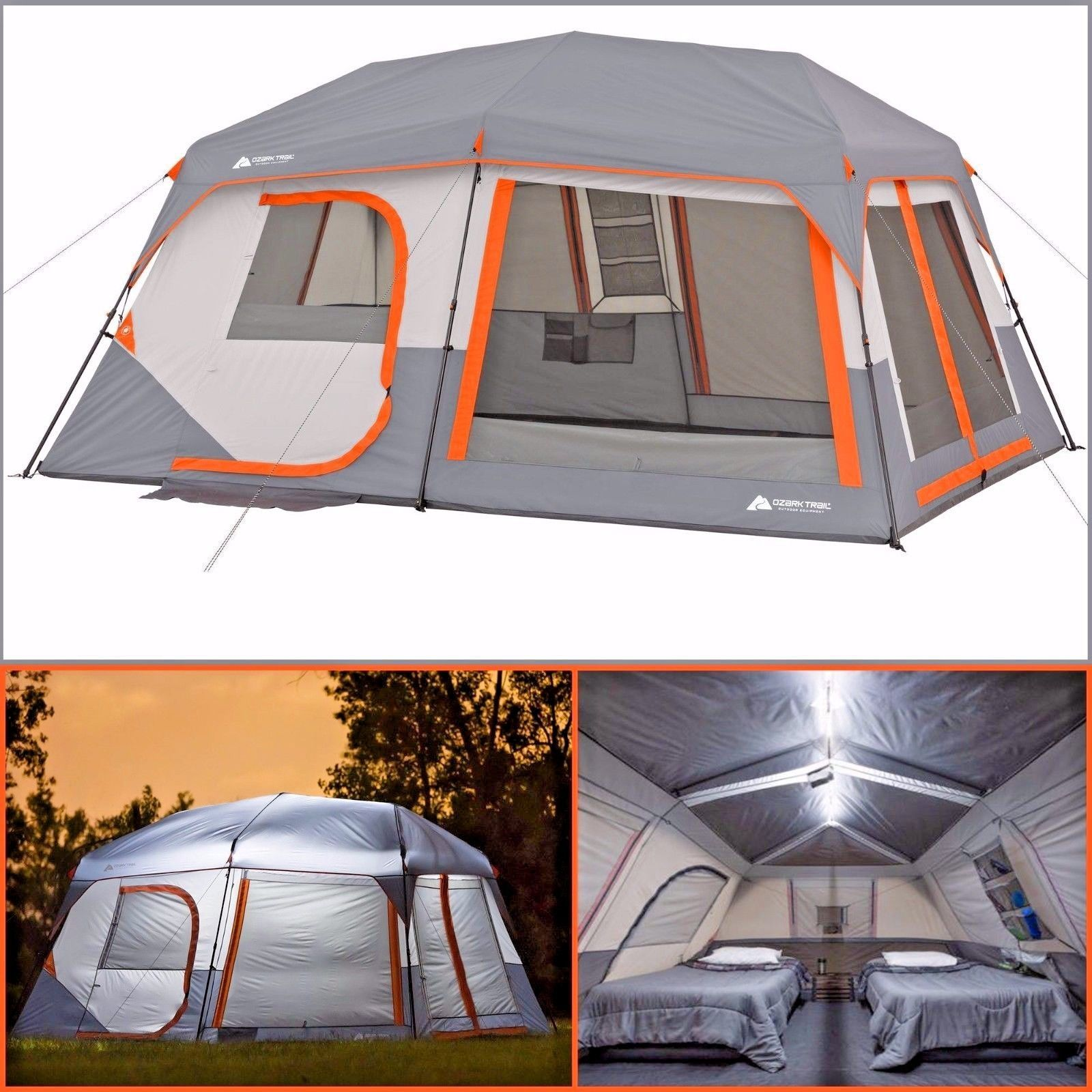 Ozark Trail 10 Person 2 Room Instant Cabin Tent Led Light Poles Family Camping Cabin Tent Tent Ozark Trail