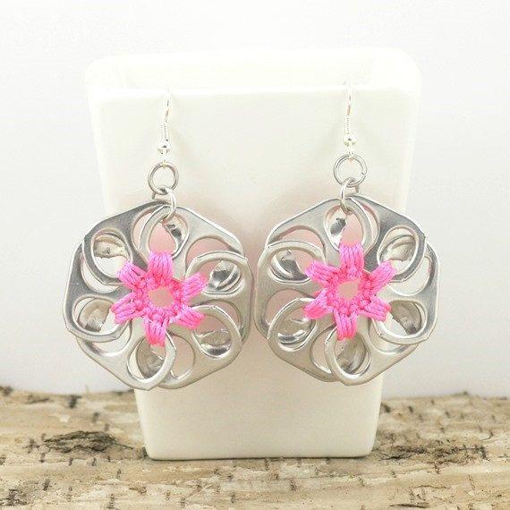 Neon pink pop tab flower earrings soda tab earrings crochet