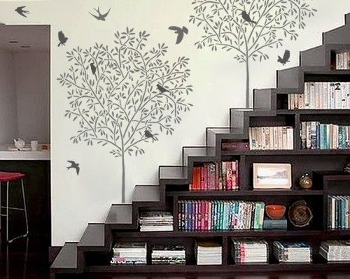 Home Wall Decor definitely love the staircase bookshelf - and the wall stencils