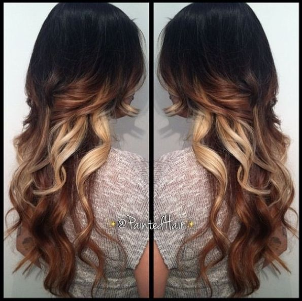 Tri Colored Hair Ombre With Long Layers