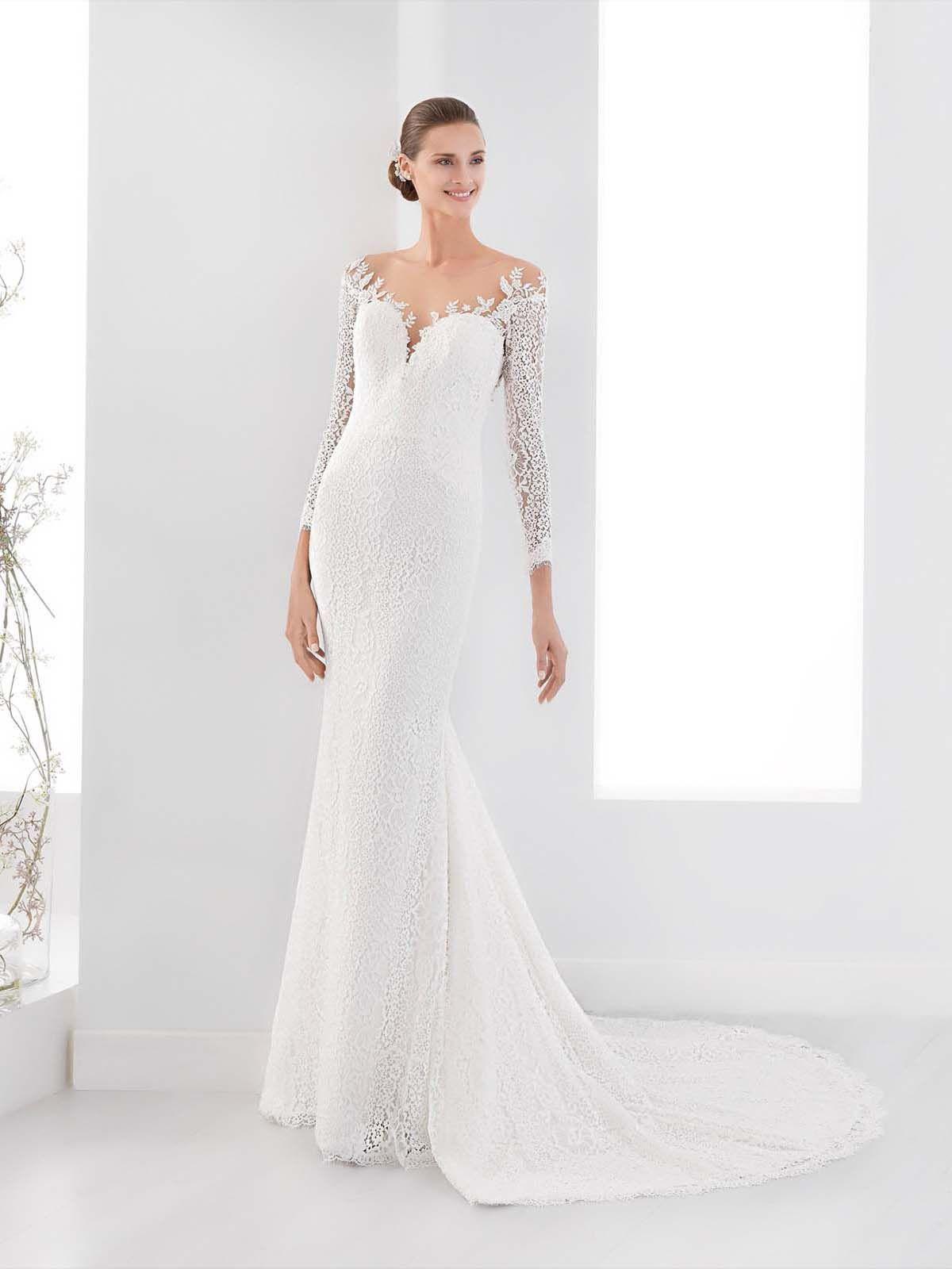 Vestido de Novia de Aurora (AUAB18903), corte sirena, escote hombros ...