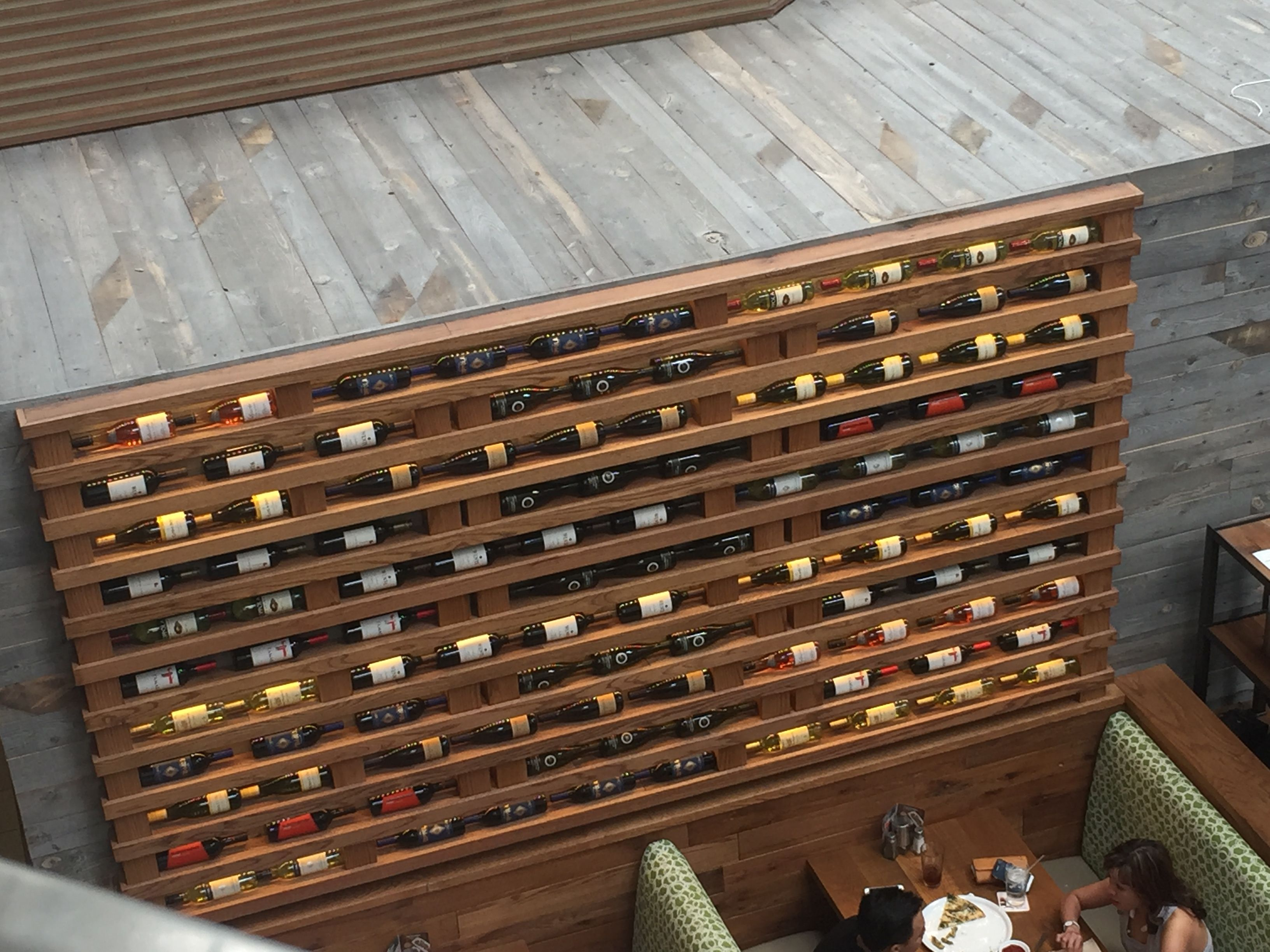 Dimly illuminated wine rack