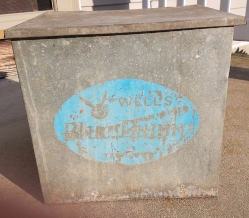 Vintage Wells Blue Bunny Dairy Galvanized Metal Milk Box Lemars Iowa Milk Box Blue Bunny Galvanized Metal