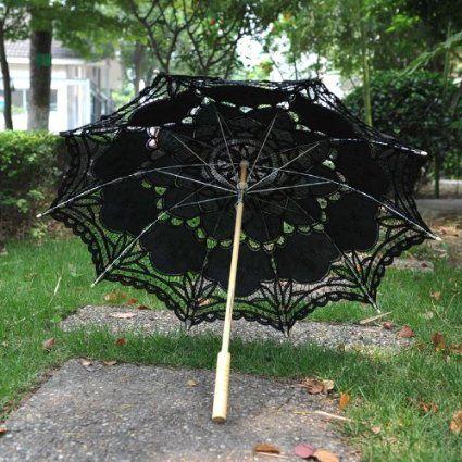 Artwedding Embroidery Pure Cotton Lace Outdoor Wedding Umbrella Sun Parasols, Black: Amazon.ca: Home & Kitchen