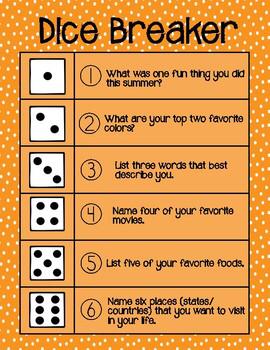 Dice Breaker Ice breaker dice game First day of school