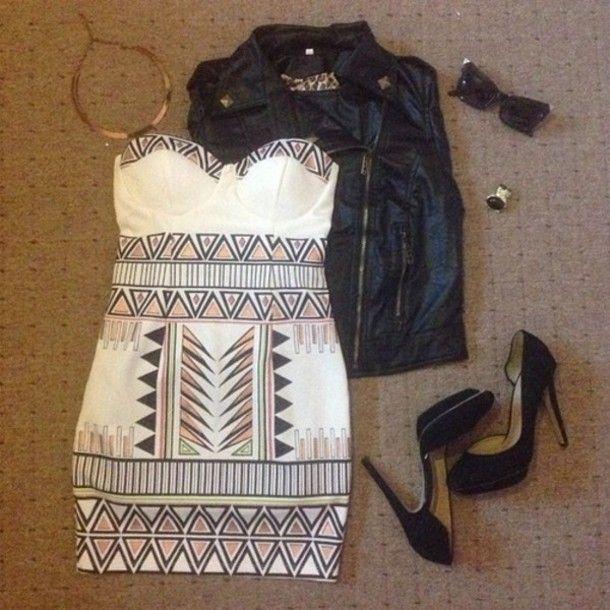 dress, white dress, aztec print, aztec print dress, mini dress, sweetheart neckline, jacket - Wheretoget