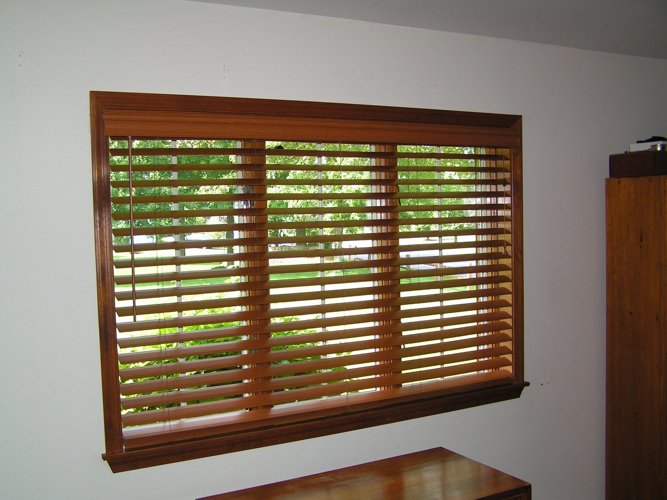 Horizontal blinds for large windows - Stained Wood Blinds On A Large Window Horizontal