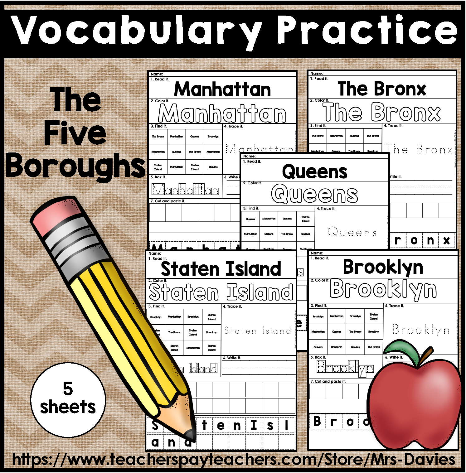 The Five Boroughs Of Nyc Vocabulary Practice Pages
