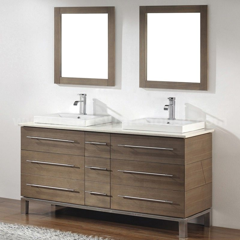 Cool Ginza 63 Double Bathroom Vanity Ash Color Finish Ginz63Vsa Home Interior And Landscaping Mentranervesignezvosmurscom
