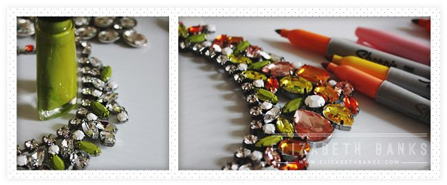 DIY Tutorial to make over a clear rhinestone necklace