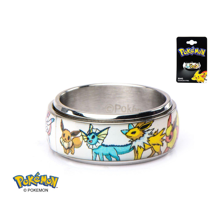 Pokemon Eevee Evolution Men s 316L Stainless Steel Spinner Ring