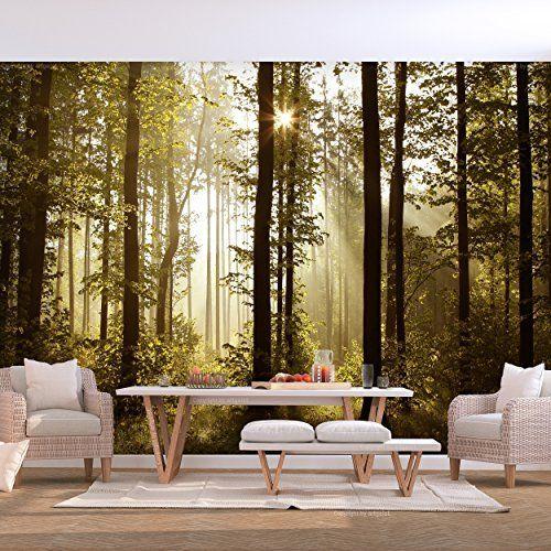 decomonkey Fototapete Wald grün 250x175 cm VLIES TAPETE - wohnzimmer design grun