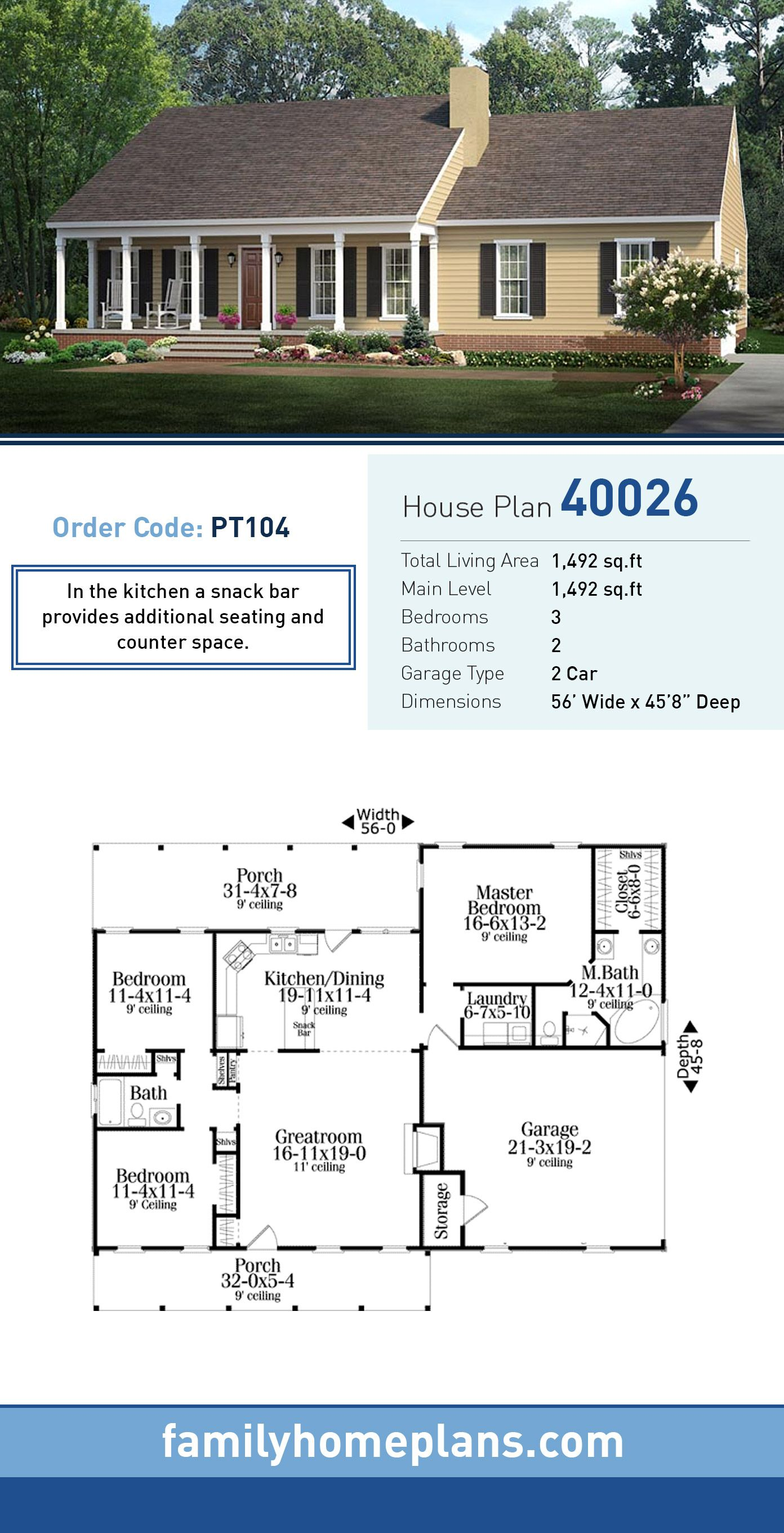 Country style house plan total living area sq ft