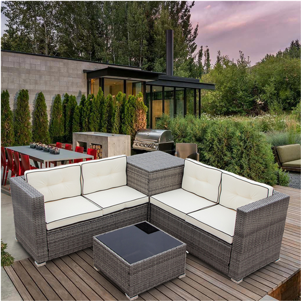 4 Piece Rattan Patio Furniture Sets Clearance Wicker Bistro Patio Set With Ottoman Glass Coffee Table Outdoor Cushioned Pe Rattan Wicker Sectional Sofa Set In 2020 Rattan Patio Furniture Rattan Outdoor