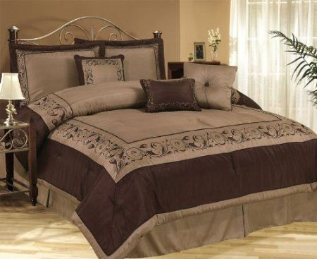 Amazon Com 7pcs King Queensland Chocolate Bed In A Bag Bedding Set Home Kitchen Guest Room Bed Bed Linens Luxury Bedding Sets