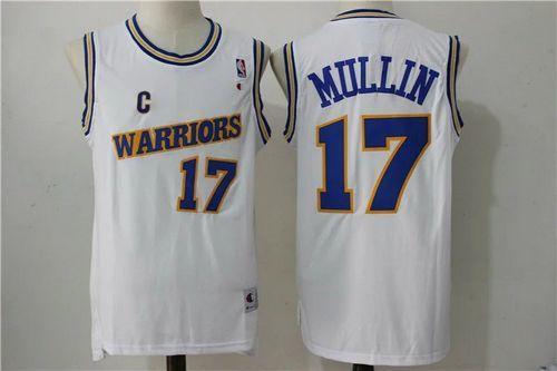 wholesale dealer 44105 e429c Golden State Warriors #17 Chris Mullin White NBA Throwback ...