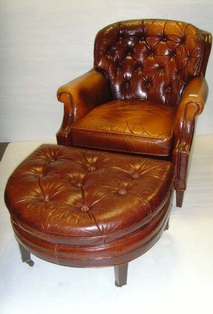 Beautiful VINTAGE LEATHER LIBRARY CHAIR WITH OTTOMAN. Live Auctioneers.com