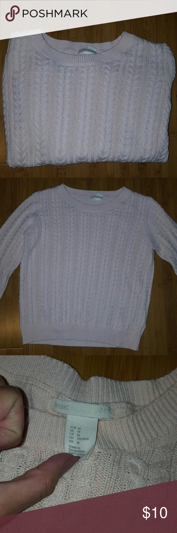 Free Light Pink Cable Knit Sweater