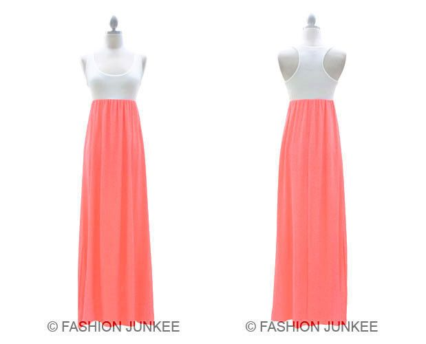 a9750390bca27 Neon Pink White Chiffon Two Tone Maxi Tank Dress Long Full Length Flowy New  S