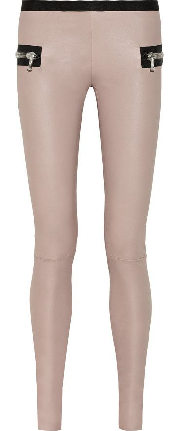 LES CHIFFONIERS nude stretch-leather leggings found at Nudevotion.com