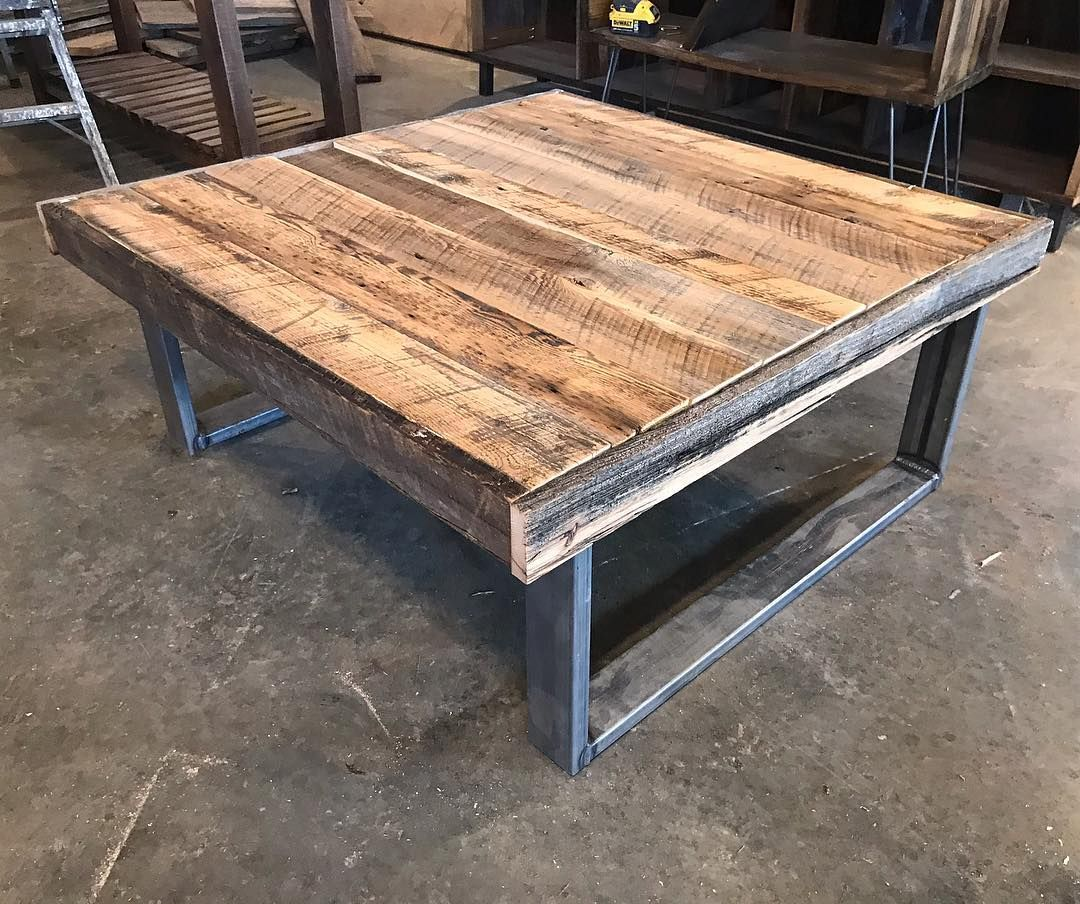 40 X 40 Rustic Coffee Table In The Works With 1x3 Steel Legs
