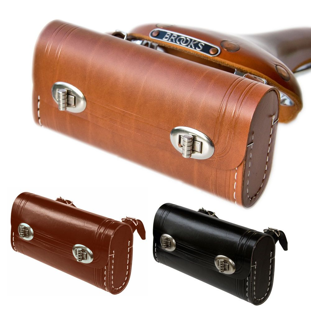 Hand Stitched Leather Bicycle Saddle Bag Colours Tan Brown Black
