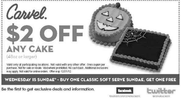 graphic relating to Carvel Coupon Printable titled Carvel #Coupon Did oneself understand Wednesday is #Sundae? Receive 2