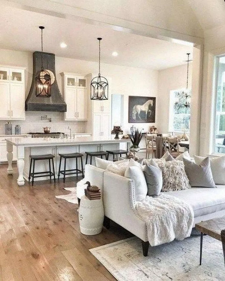 53 Best Interior Design Ideas With Farmhouse Style 42 Dream House Ideas Kitchens Farm House Living Room Home Living Room