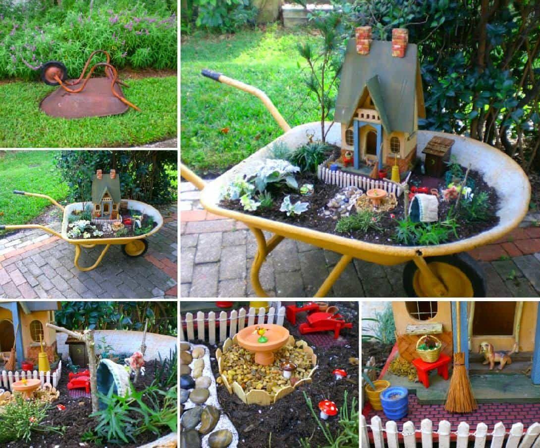 Wheelbarrow Fairy Garden Ideas In 2020 Fairy Garden My Fairy