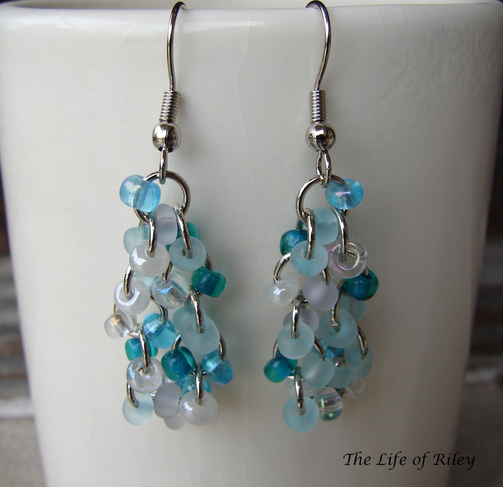 Lovely bridal  White Czech Glass seed Bead chainmaille  earrings Sterling Silver