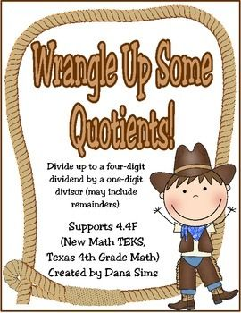 Wrangle Up Some Quotients! Division Task Cards (4th Grade