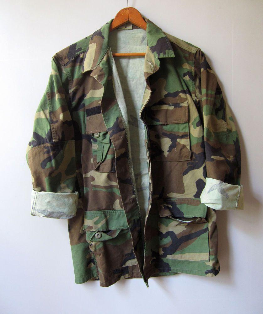 eb7f0689a8e08 USA Vintage Woodland Camouflage BDU Shirt Army Jacket Camo Long Medium # military #Military