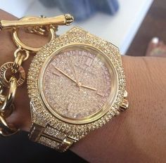 52f4a6c5b875 jewels michael kors watch glitter expensive gold micheal kors watch gold