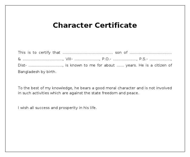 4 Character Certificates Word Template Good Morals