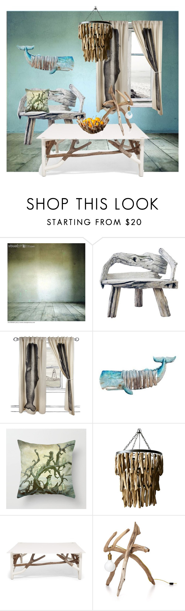 """""""Driftwood Room"""" by synkopika ❤ liked on Polyvore featuring interior, interiors, interior design, home, home decor, interior decorating, Thomaspaul, Dot & Bo and OKA"""