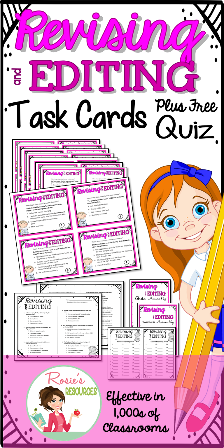 004 Revising and Editing Task Cards Plus Free Bonus Quiz 3rd