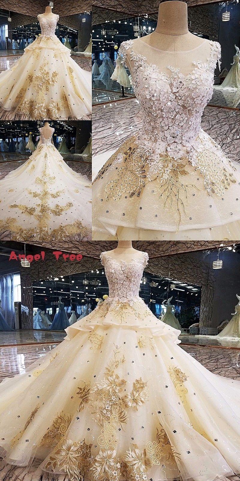 Long lace wedding dress  Angel Tree Luxury wedding dress for bridal D flower beaded ball