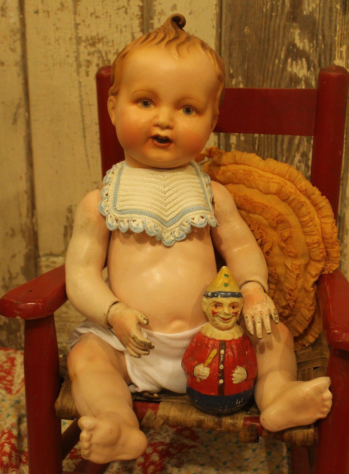 "Big 25"" Composition Full Jointed Body Elektra Baby Doll Old Antique Vintage | eBay"