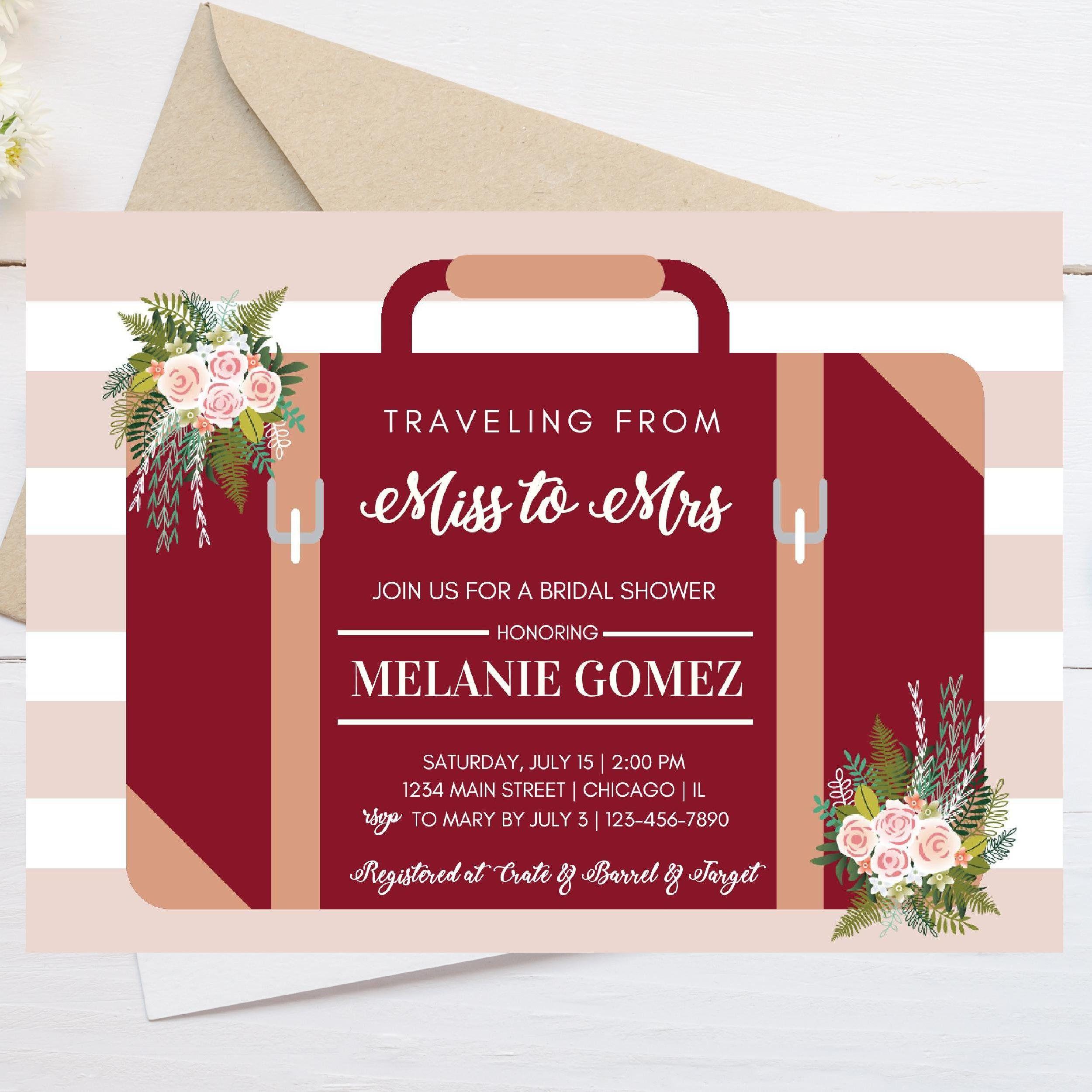 Printable Bridal Shower Invitation, Travel Theme, Travel invitations ...