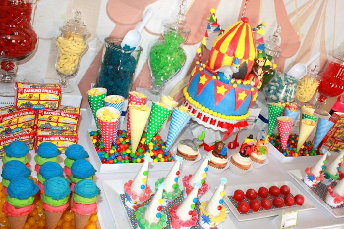 Colorful Circus Dessert Table by Parties by KLM #circus #parties #desserttable #circusparty
