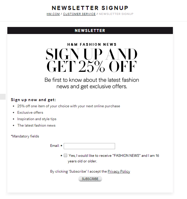 h m newsletter landing page incentive to sign up emailmarketing newsletters sign up. Black Bedroom Furniture Sets. Home Design Ideas