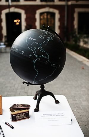 Instead of a guest book, write on a chalkboard globe... then seal