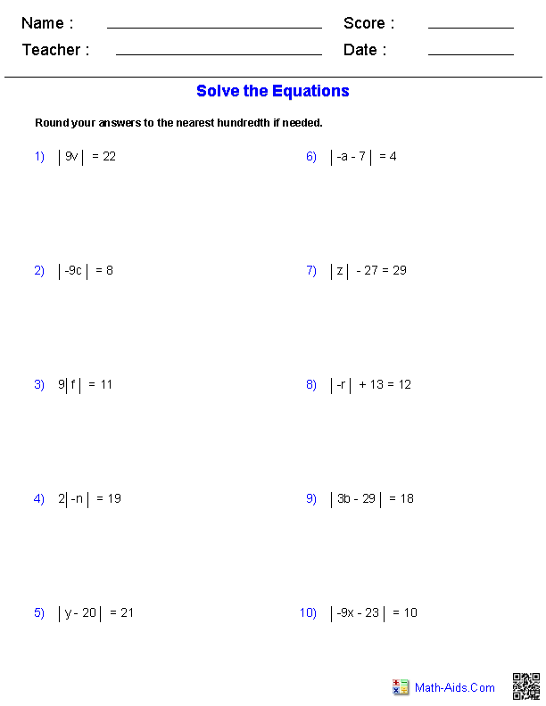 Absolute Value Equations Worksheets | Math-Aids.Com | Pinterest ...