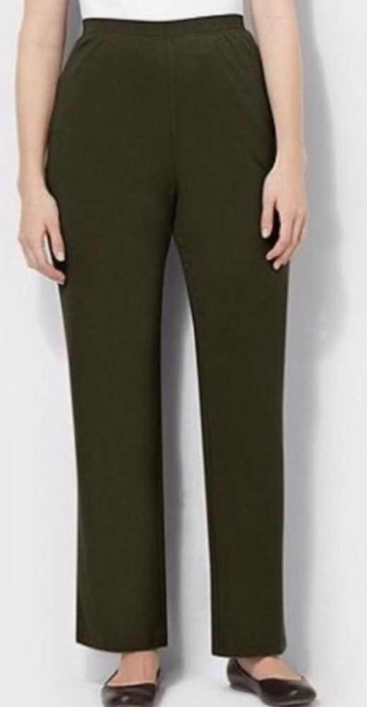 893884cfa64a8 CATHERINES SUPREMA COLLECTION KNIT PANTS - OLIVE GREEN - PLUS SIZE 5X  (34 36W)